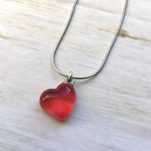 """Glass Heart Sterling Silver Necklace 16"""""""